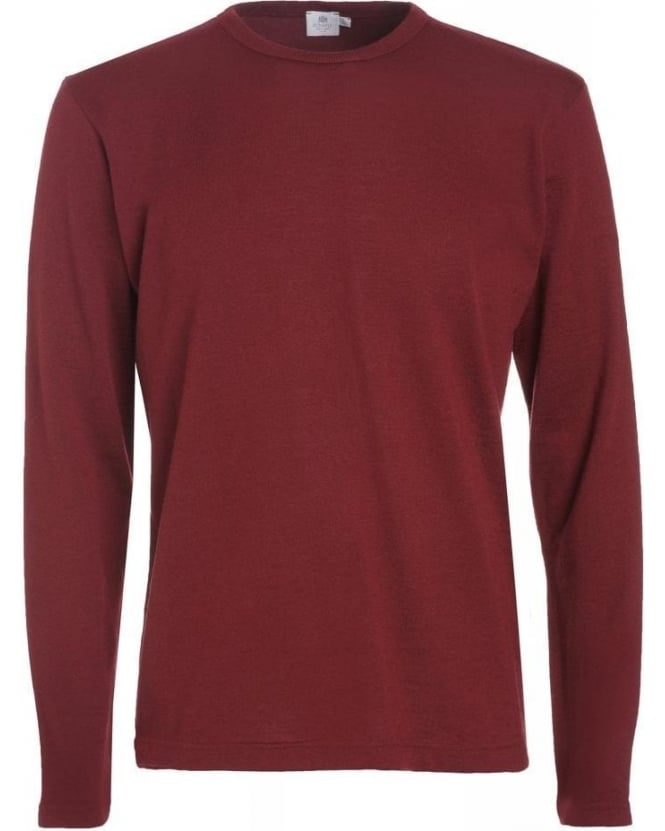 Sunspel Burgundy Fine Merino Wool Crew Neck Jumper