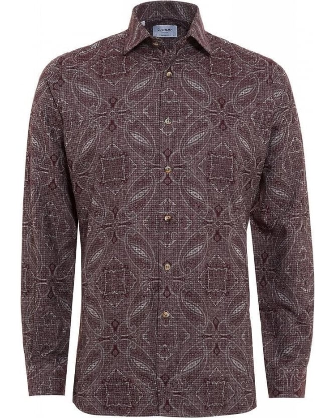 Duchamp Burgundy Paisley Print, Tailored Fit Shirt