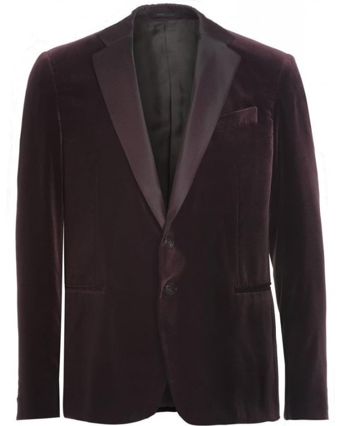 Armani Collezioni Burgundy Two Button Velvet Jacket