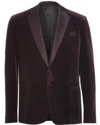 Burgundy Two Button Velvet Jacket