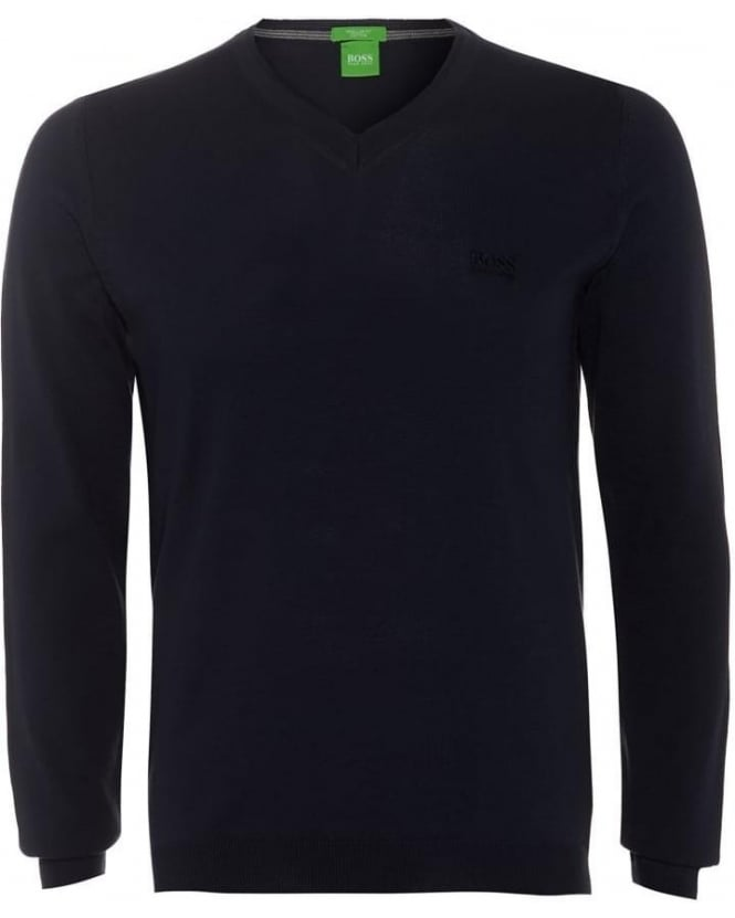 Hugo Boss Green C-Carlton Mens Jumper V Neck Dark Blue Knitted Sweater