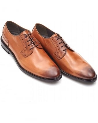 C-Corio Tan Leather Derby Shoes