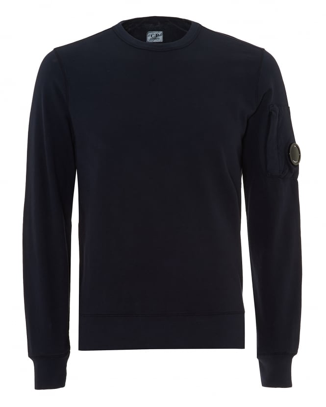 C.P. Company Mens Arm Lens Badge Sweatshirt, Eclipse Navy Blue Jumper