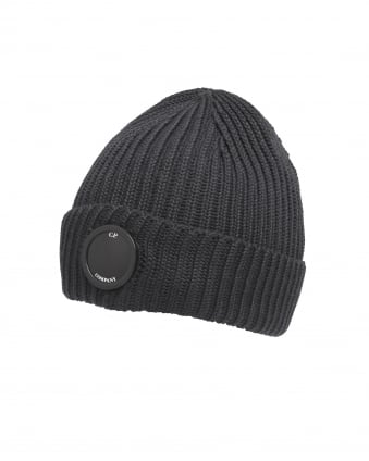 Mens Black Goggle Lens Ribbed Beanie Hat