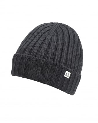 Mens Black Ribbed Logo Tab Beanie Hat