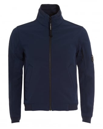 Mens Blue Funnel Neck Shell Jacket