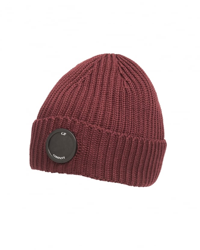 C.P. Company Mens Burgundy Red Goggle Lens Ribbed Beanie Hat