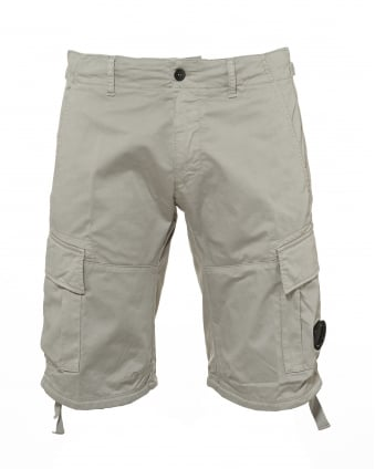 Mens Cargo Shorts, Lens Badge Stone Grey Shorts