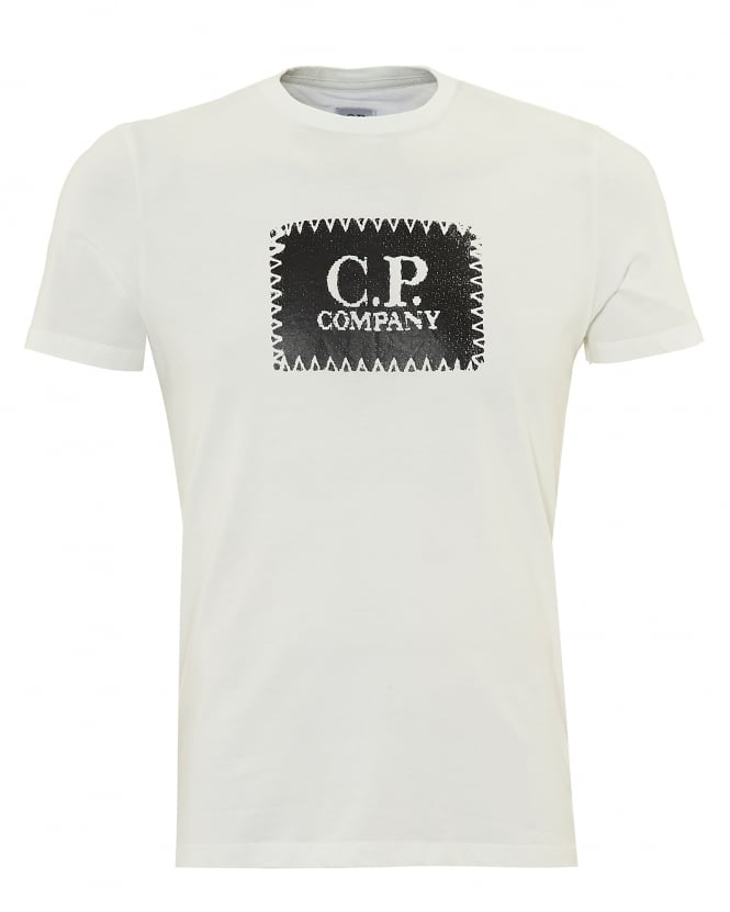 C.P. Company Mens Chest Stitched Patch T-Shirt, Crew Neck Ecru Cream Tee