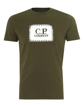 Mens Chest Stitched Patch T-Shirt, Crew Neck Olive Green Tee