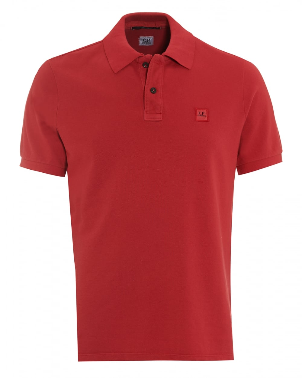 C p company mens classic berry red regular fit logo polo for Corporate polo shirts with logo