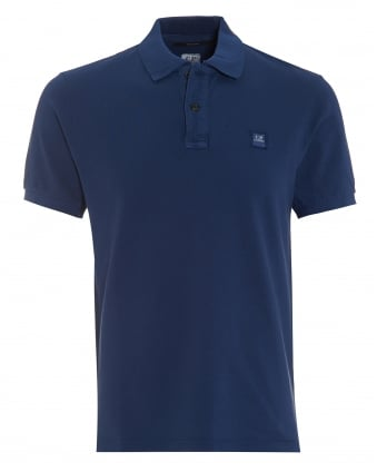 Mens Classic Blue Regular Fit Logo Polo Shirt