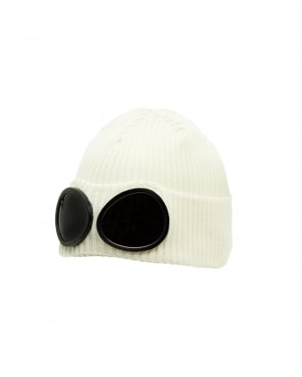 Mens Cotton Beanie Hat, Goggled White Beanie