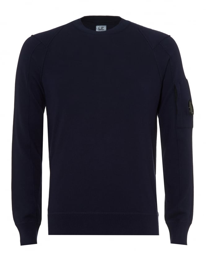 C.P. Company Mens Crew Neck Jumper, Arm Lens Eclipse Navy Sweater