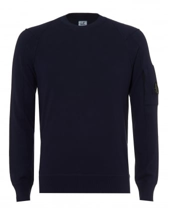 Mens Crew Neck Jumper, Arm Lens Eclipse Navy Sweater