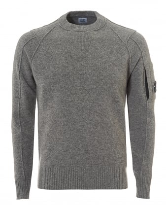 Mens Crew Neck Jumper, Regular Fit Grey Goggle Lens Sweater