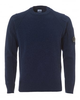 Mens Crew Neck Jumper, Regular Fit Indigo Blue Goggle Lens Sweater