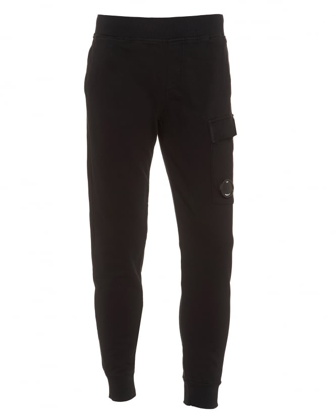 C.P. Company Mens Cuffed Trackpant, Lens Detail Black Sweatpants