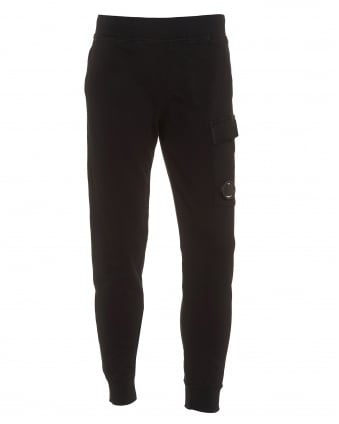 Mens Cuffed Trackpant, Lens Detail Black Sweatpants