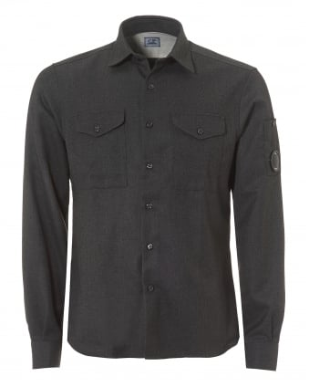Mens Flannel Overshirt, Regular Fit Grey Goggle Lens Shirt