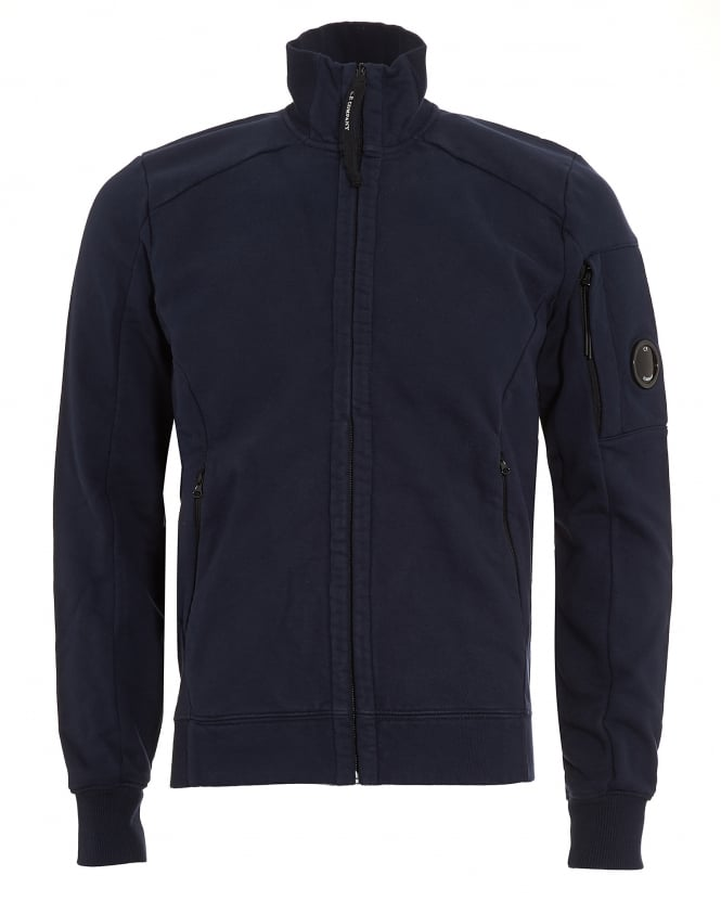 C.P. Company Mens Full Zip Arm Lens Navy Blue Sweatshirt