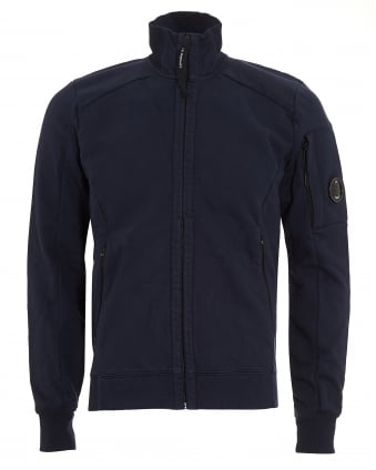 Mens Full Zip Arm Lens Navy Blue Sweatshirt