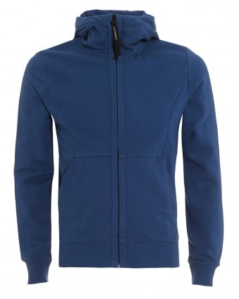 Mens Goggle Hoodie, Zip Through Blue Sweatshirt