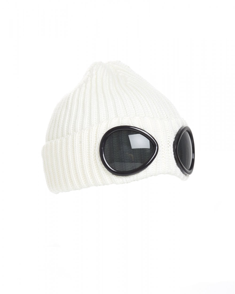 1163e07e9 Mens Goggle Lens Beanie, Ribbed Gauze White Hat