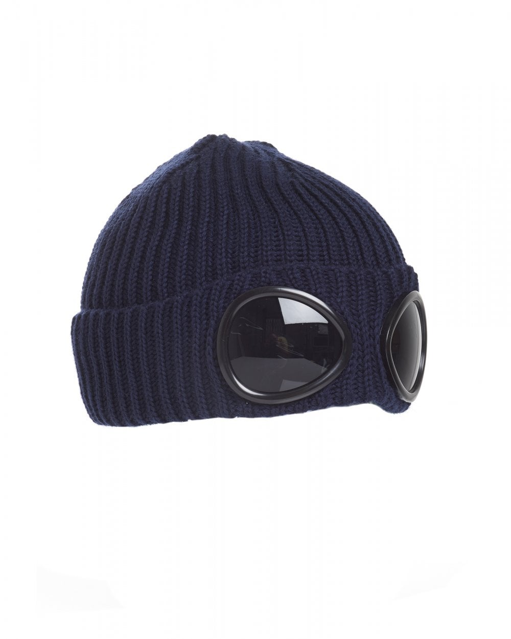 b0c7c89f5 Mens Goggle Lens Beanie, Ribbed Total Eclipse Navy Blue Hat
