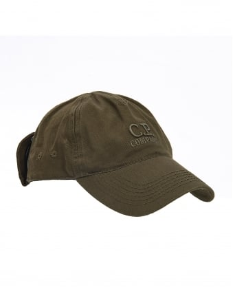 Mens Hat, Olive Green Goggle Baseball Cap