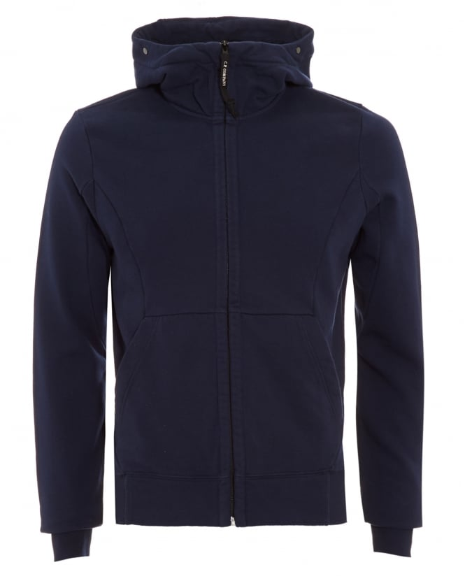 C.P. Company Mens Hoodie, Navy Blue Goggle Lens Hooded Sweatshirt