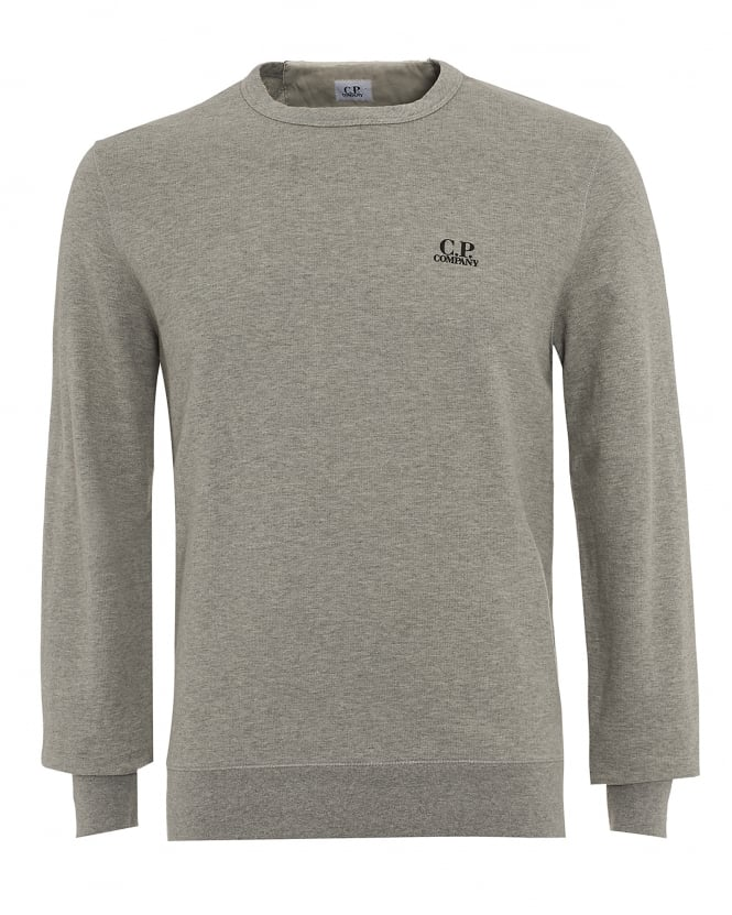 C.P. Company Mens Jumper, Grey Logo Sweatshirt
