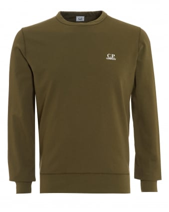 Mens Jumper, Olive Green Logo Sweatshirt