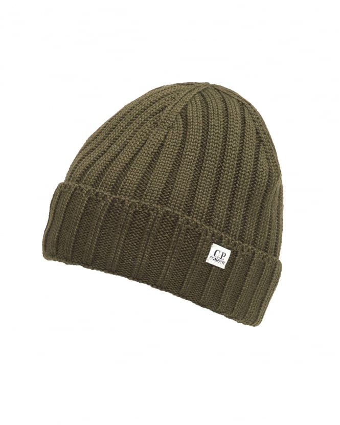 C.P. Company Mens Khaki Green Military Ribbed Logo Tab Beanie Hat