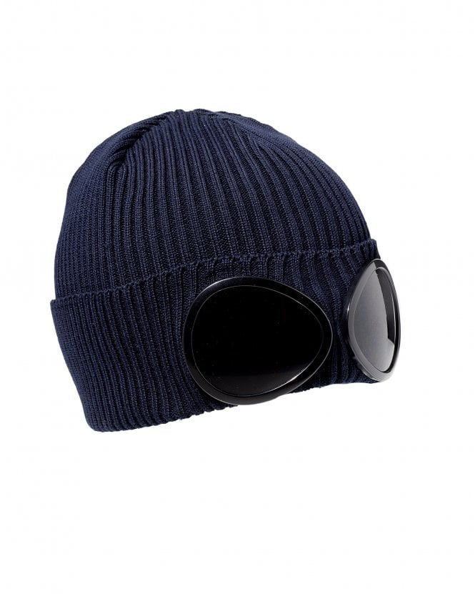 7f8655281 Mens Large Goggle Beanie, Navy Blue Hat