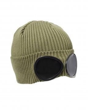 da448f6d5 C.P. Company Mens Goggle Lens Beanie, Ribbed Navy Blue Hat