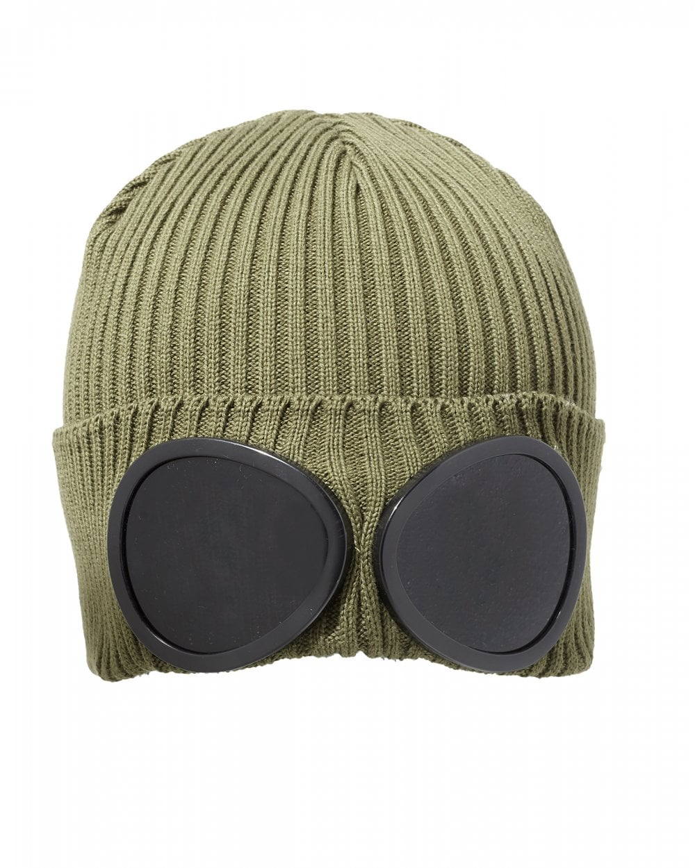 d9c5490df Mens Large Goggle Beanie, Olive Green Hat