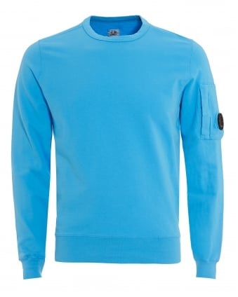 Mens Lens Sweatshirt, Crew Neck Aqua Blue Sweat