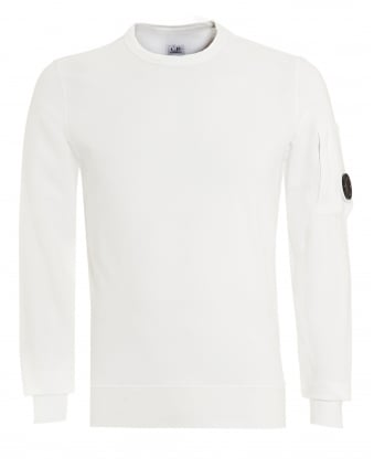 Mens Lens Sweatshirt, Crew Neck White Sweat