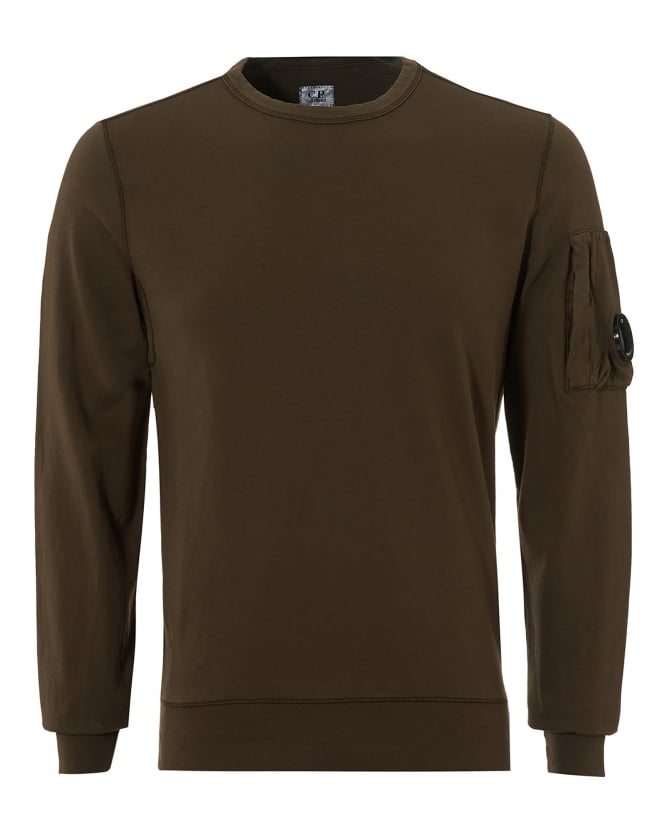 C.P. Company Mens Lightweight Sweatshirt, Crew Neck Military Green Sweat
