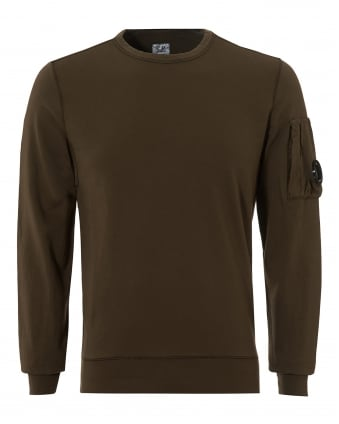 Mens Lightweight Sweatshirt, Crew Neck Military Green Sweat