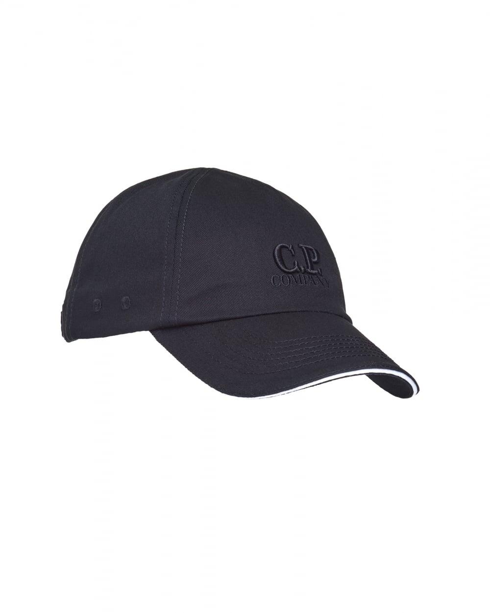 82a9073b C.P. Company Mens Logo Baseball Cap, Cotton Black Hat