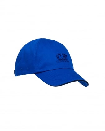 Mens Logo Baseball Cap, Cotton Cobalt Blue Hat