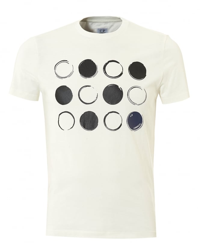 C.P. Company Mens Multi Lense T-Shirt, Short Sleeved White Tee