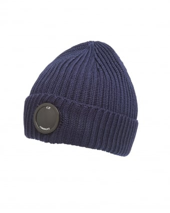 Mens Navy Blue Goggle Lens Ribbed Beanie Hat