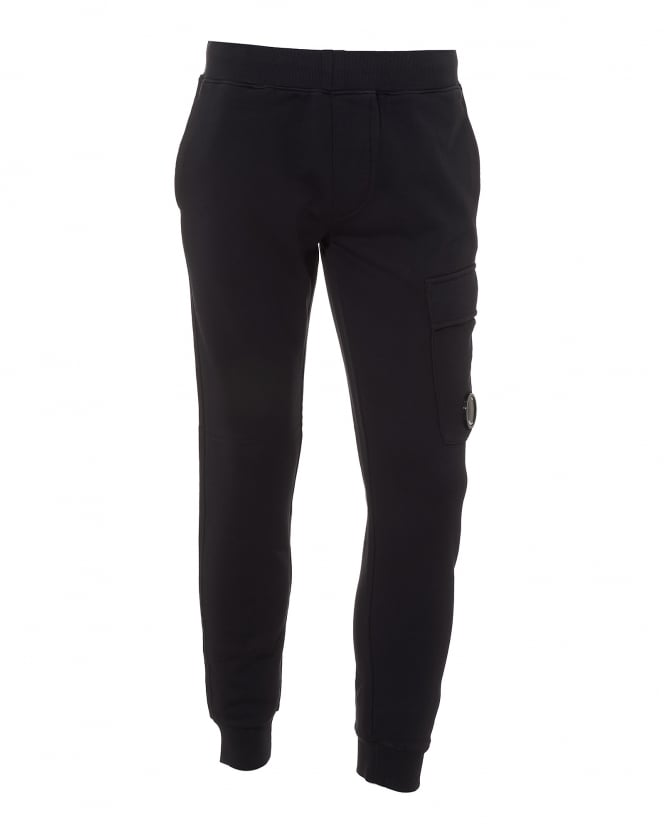 C.P. Company Mens Navy Blue Trackpants, Cuffed Lens Detail Sweatpants