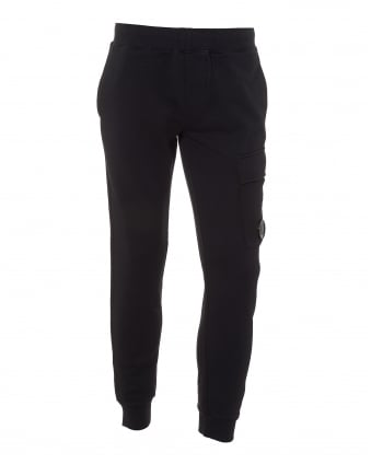 Mens Navy Blue Trackpants, Cuffed Lens Detail Sweatpants