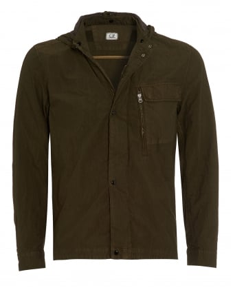 Mens Overshirt, Goggle Hooded Olive Green Jacket