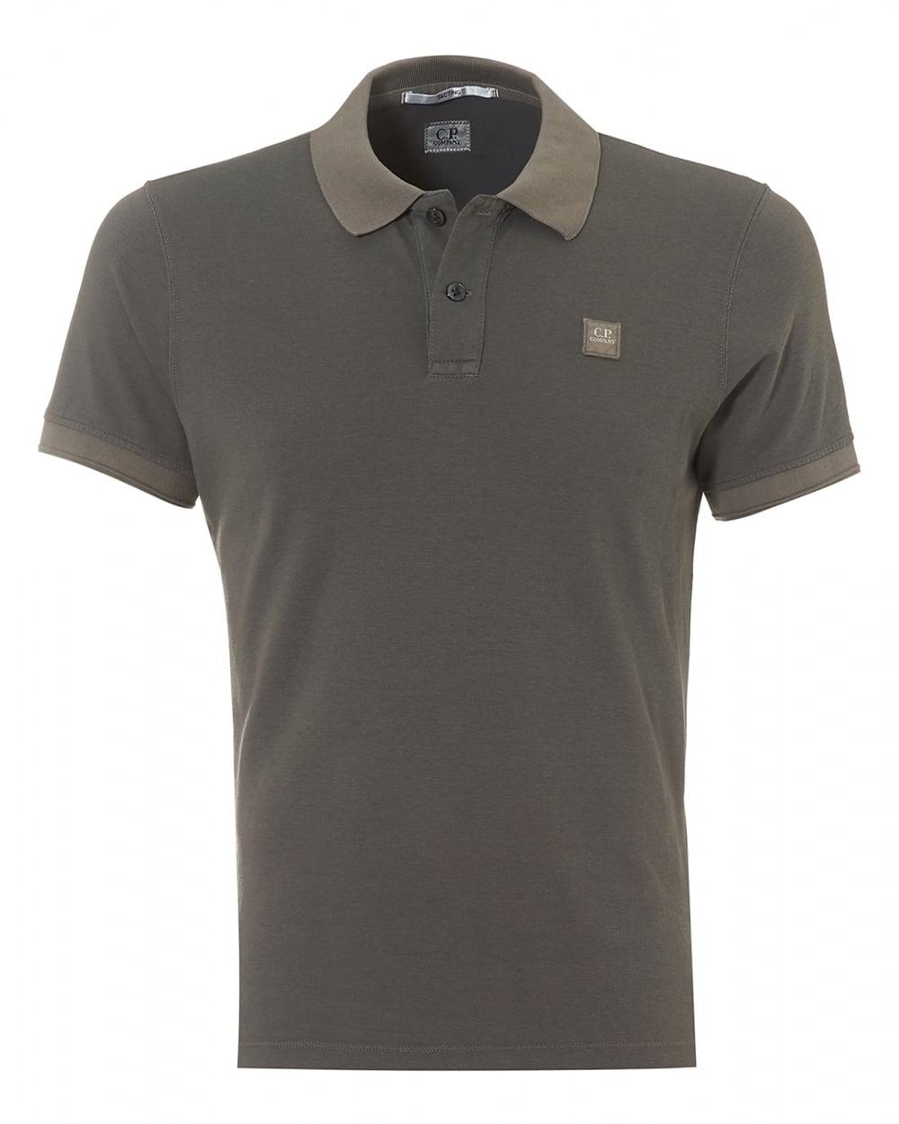 C p company mens plain grey regular fit logo polo shirt for Polo shirt with company logo