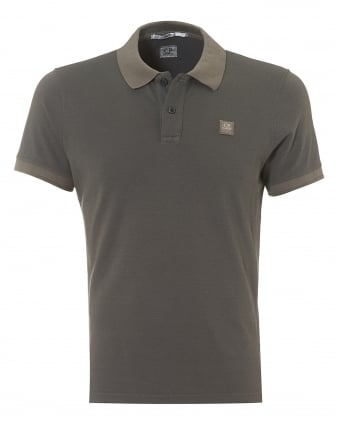 Mens Plain Grey Regular Fit Logo Polo Shirt